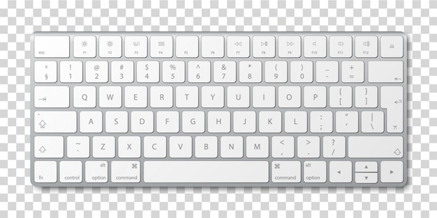 Modern Aluminum Computer Keyboard On Transparent Background Premium Vector