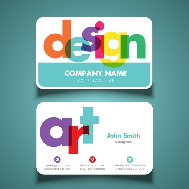 modern and colorful business cards vector free download