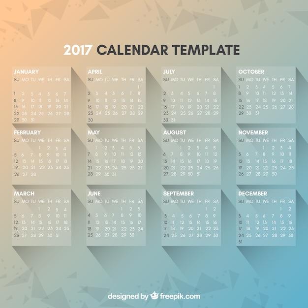Modern and elegant 2017 calendar template Free Vector