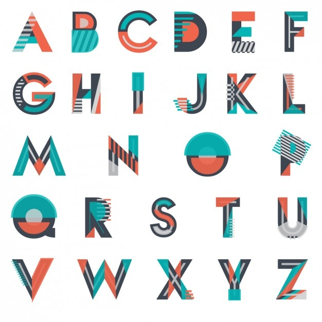 what to spell with these letters modern and geometrical typography vector free 25594 | modern and geometrical typography 1043 76
