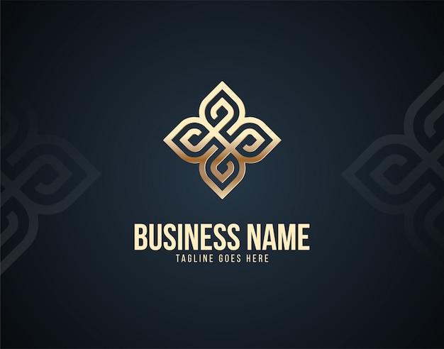 Современный и роскошный абстрактный орнамент шаблон логотипа с эффектами золотого цвета Premium векторы