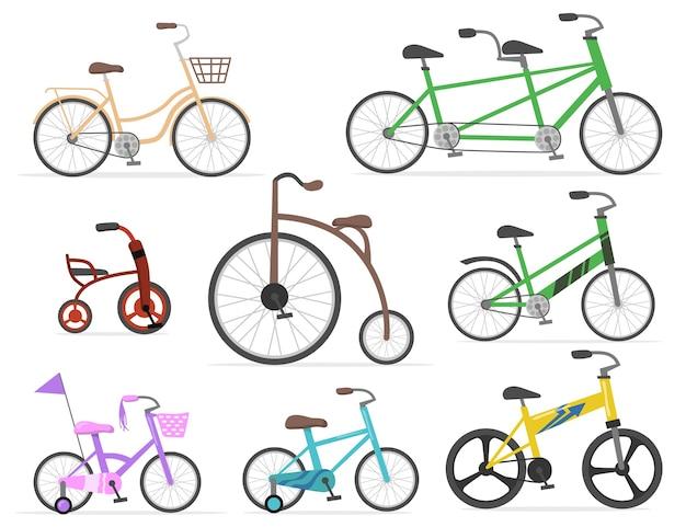 Современные и ретро велосипеды плоский набор для веб-дизайна. мультфильм рисования старых циклов и милых велосипедов в ярких цветах изолировал коллекцию векторных иллюстраций. транспорт, езда на велосипеде и концепция гонки Бесплатные векторы