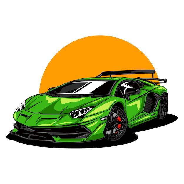 現代とスポーツカーのイラスト Premiumベクター