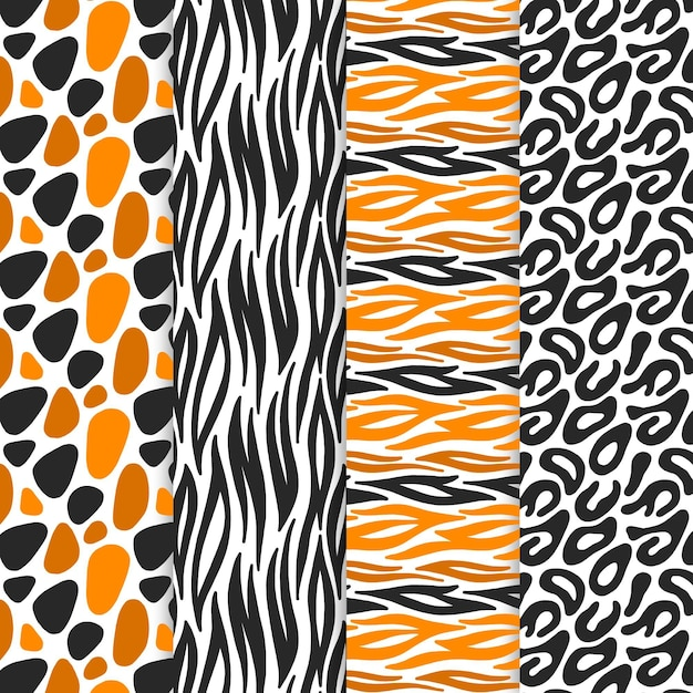 Modern animal print pattern collection Free Vector