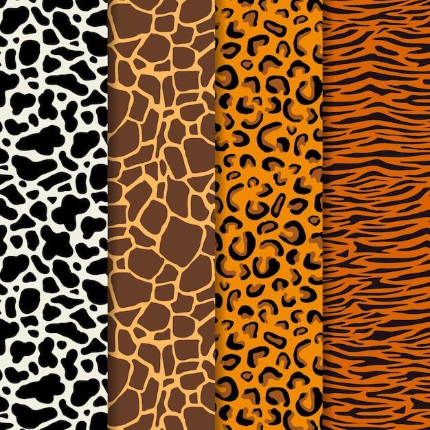Modern animal print pattern set Free Vector