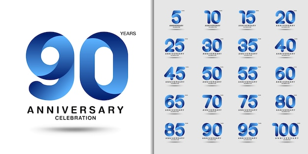 Modern anniversary celebration logotype set. Premium Vector