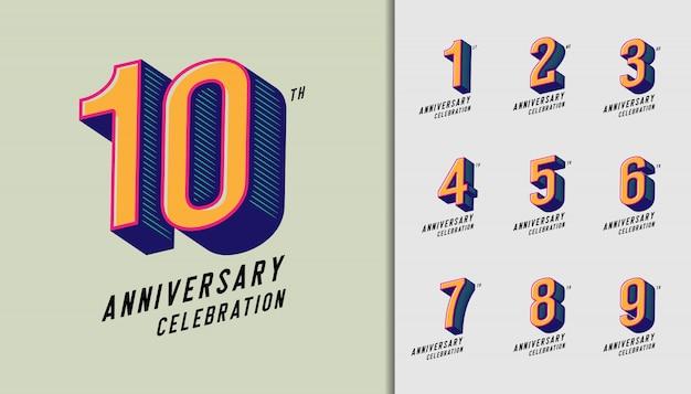 Modern anniversary celebration logotype set. Premium Vector