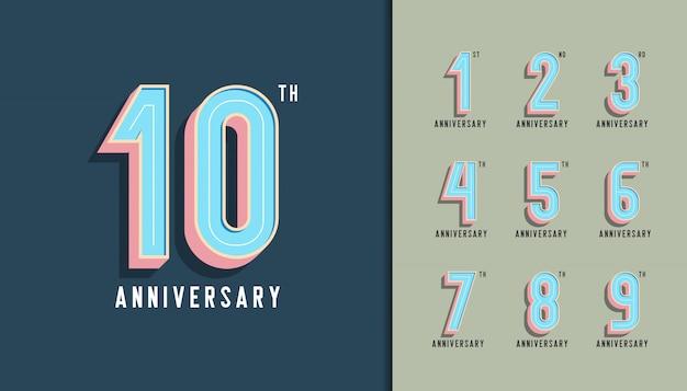 Modern anniversary celebration with pastel color. Premium Vector
