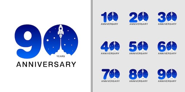 Modern anniversary celebration with rocket and space. Premium Vector