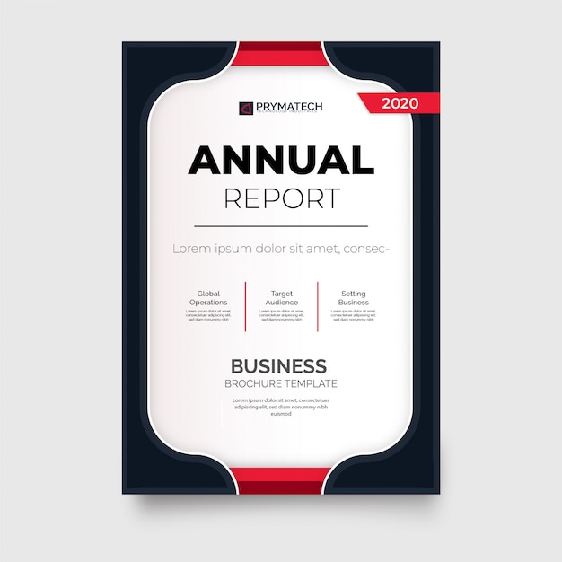 Modern annual report brochure template with red shapes Free Vector