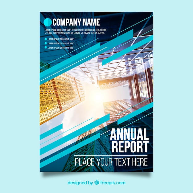 Modern annual report cover with image Free Vector