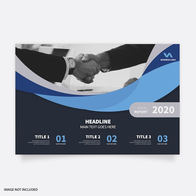Modern annual report with abstract waves Free Vector