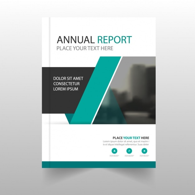 Modern annual report with geometric shapes Free Vector