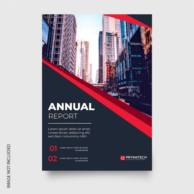 Modern annual report with red shapes Free Vector