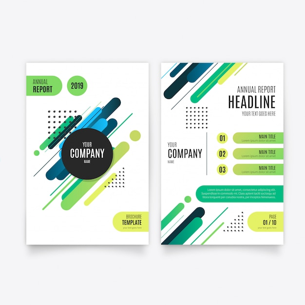 Modern anual report brochure template Free Vector