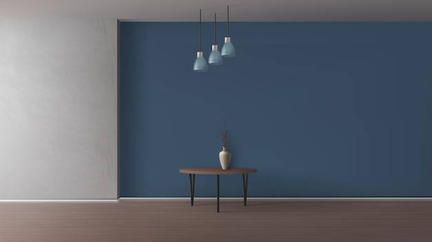 Modern apartment, home living room, gallery or cafe minimalistic Free Vector