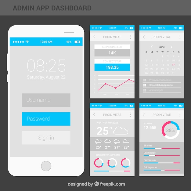 Modern App Admin Dashboard With Flat Design Vector