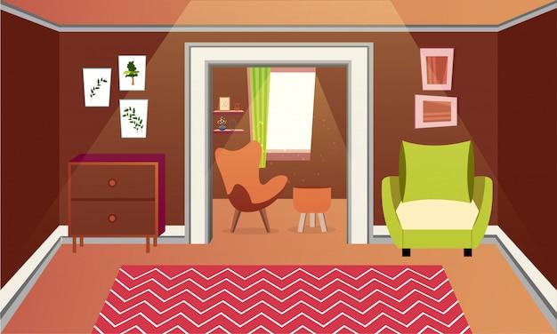 Modern architecture of living room interior design. Vector | Premium ...