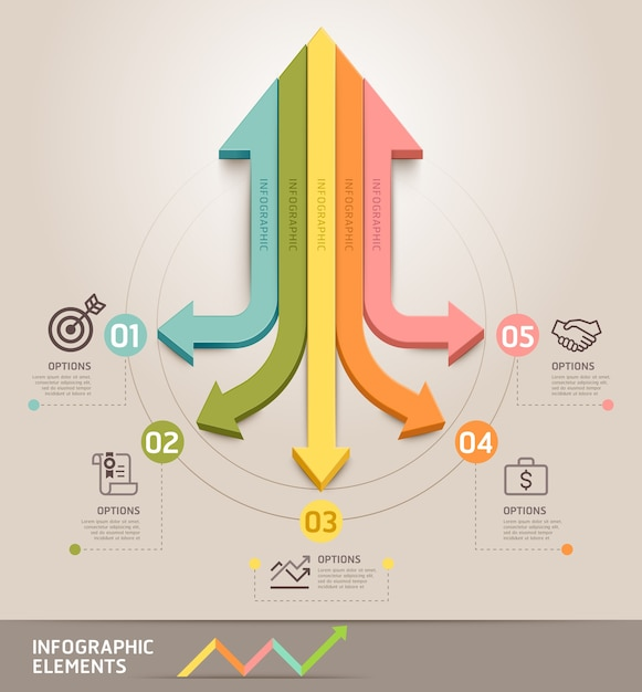 Modern arrow infographics template.  can be used for workflow layout, diagram, number options, web , infographics and timeline. Premium Vector