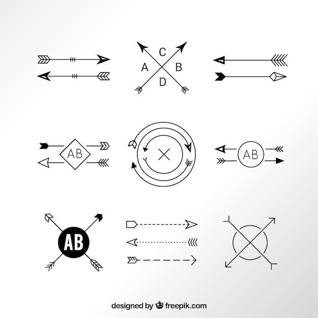 Modern arrow logos Free Vector