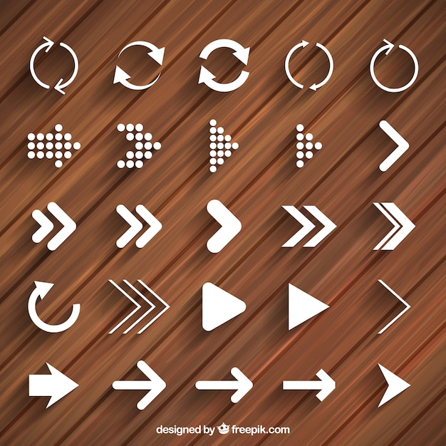 Modern arrows and reload icons Free Vector