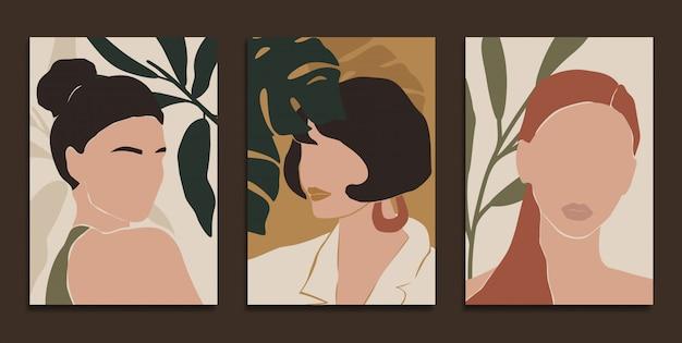 Modern art prints in boho style. Premium Vector