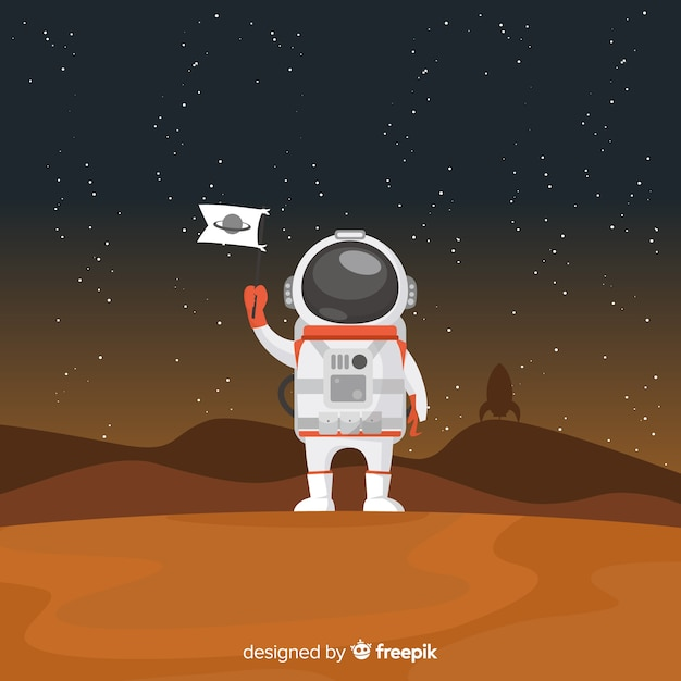 Modern astronaut character with flat design Free Vector