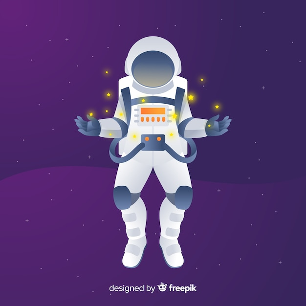 Modern astronaut composition with flat design Free Vector