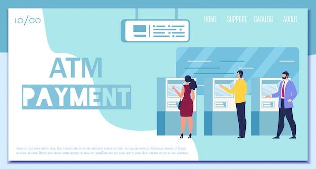 Modern atm payment service flat vector web banner Premium Vector