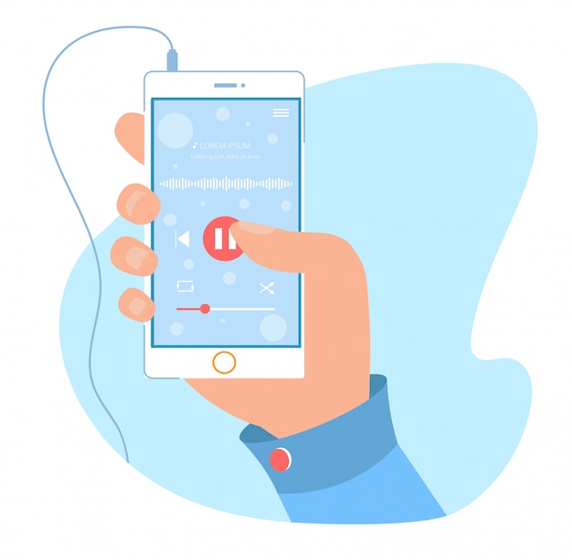 Modern audio player application for mobile phone Premium Vector