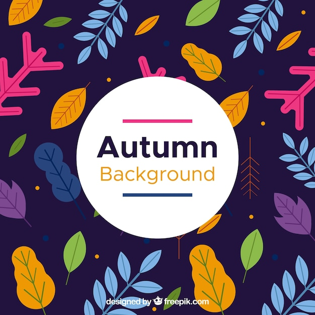 Modern autumn background with flat design Free Vector