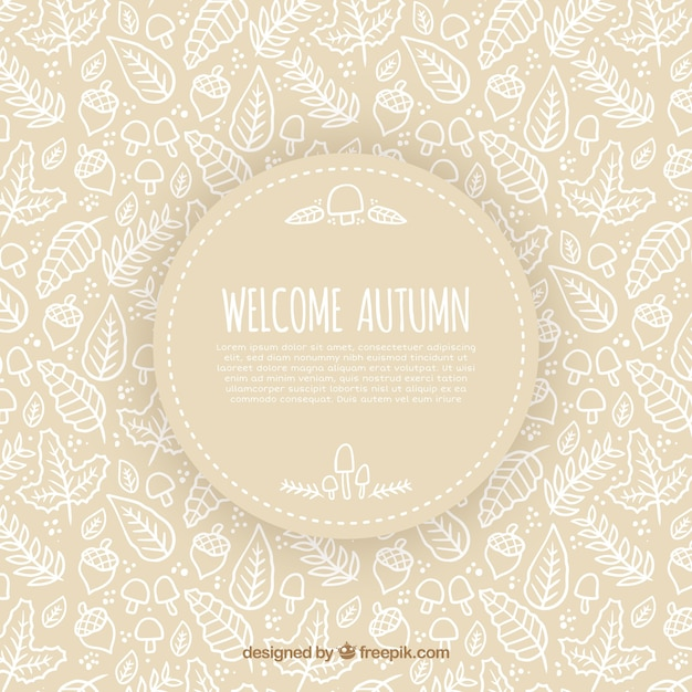 Modern autumnal backgroud with hand drawn pattern
