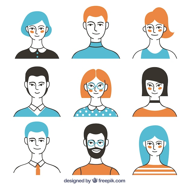 Modern avatar collection with colorful style Free Vector