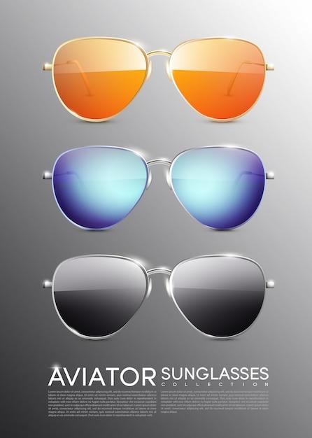 Modern aviator sunglasses set Free Vector