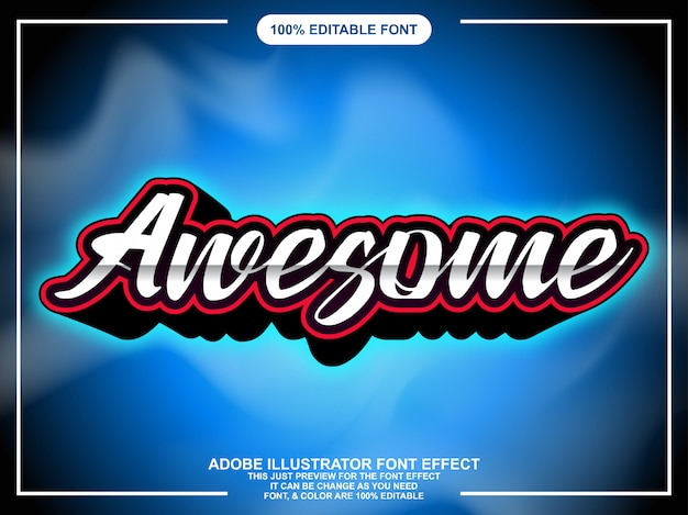 Modern awesome script with glow font effect Premium Vector