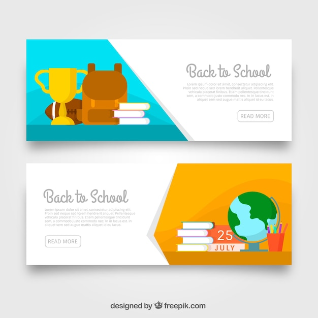 Modern back to school banners in flat design
