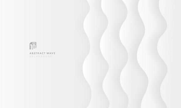 현대 배경 3d 흰색과 회색 곡선 레이어 배경입니다. 프리미엄 벡터
