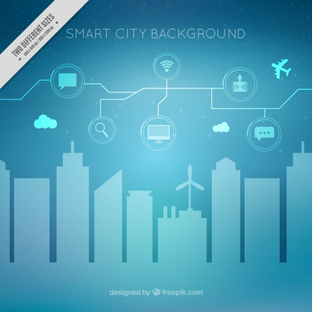 Modern Background Of Smart City With Icons Vector Free
