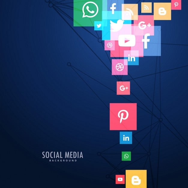 Modern background of social media icons color Free Vector