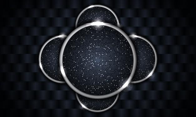 Современный фон с абстрактной формой с серебряным кругом свечения Premium векторы