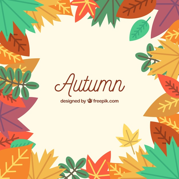 Modern background with autumn leaves