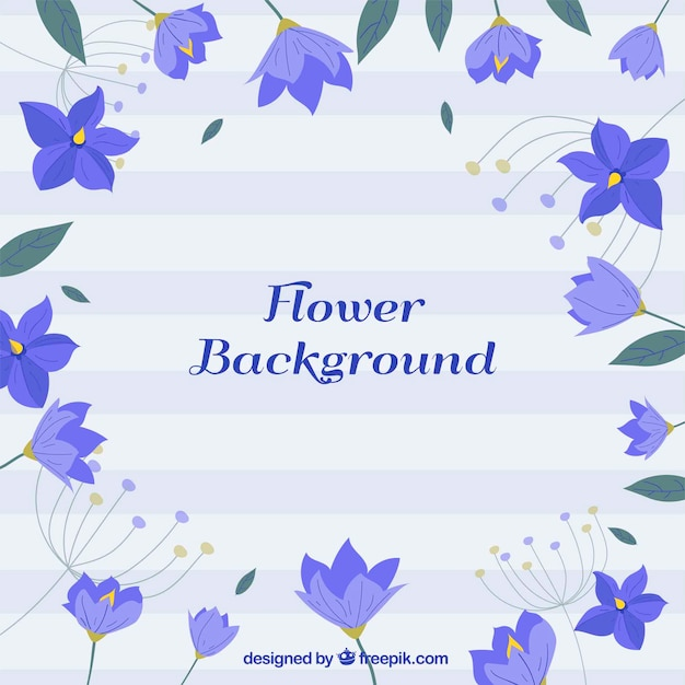 Modern background with blue flowers