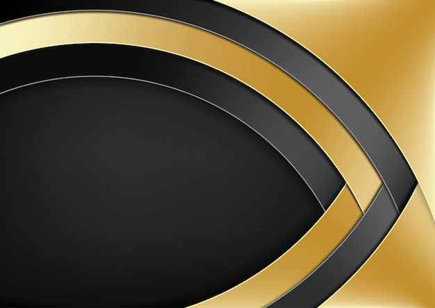 Modern background with gold and black layers Premium Vector