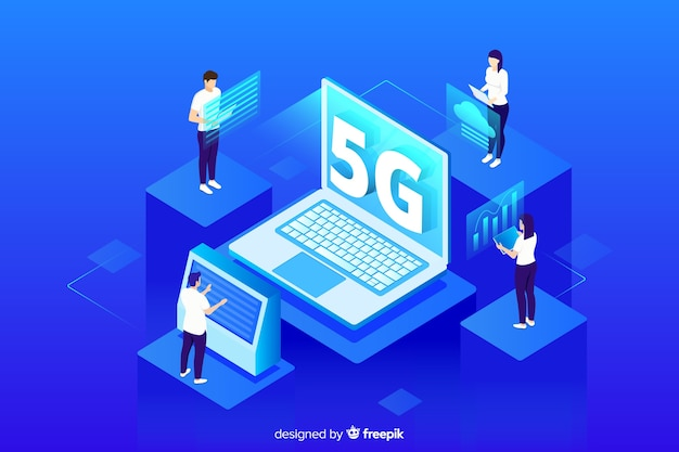 Modern background with isometric 5g concept Free Vector