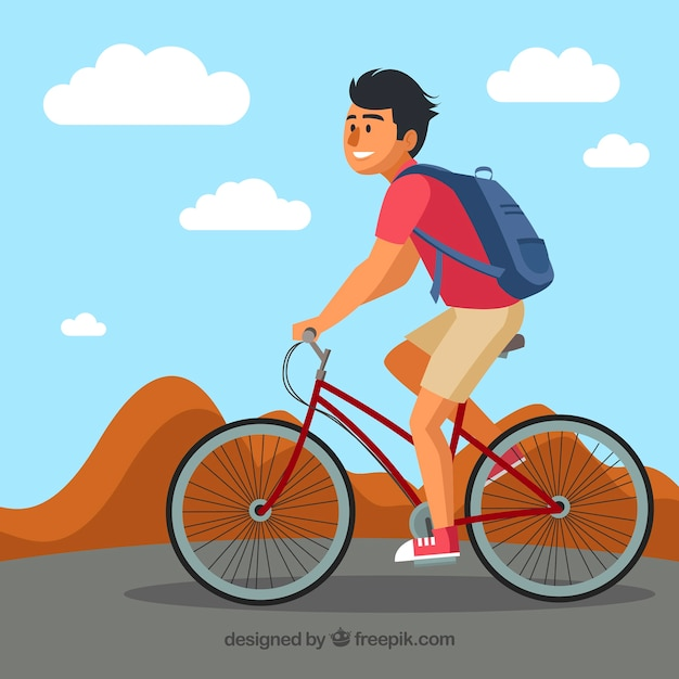 Modern background with smiley man riding bike