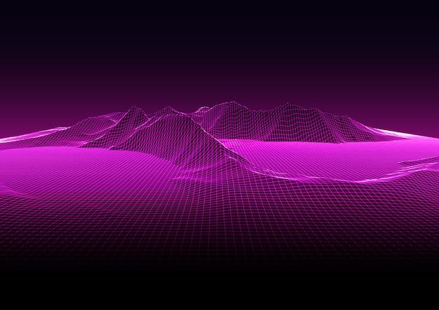 Modern background with techno wireframe landscape design Premium Vector