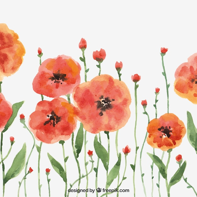Modern background with watercolor flowers Free Vector
