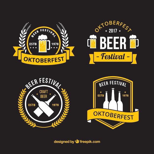 Modern badges for german beer fest Free Vector