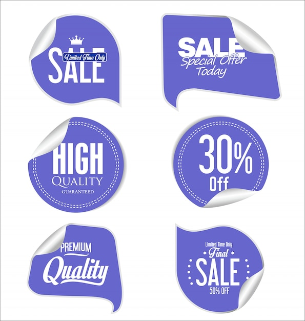 Modern badges stickers and labels collection Premium Vector