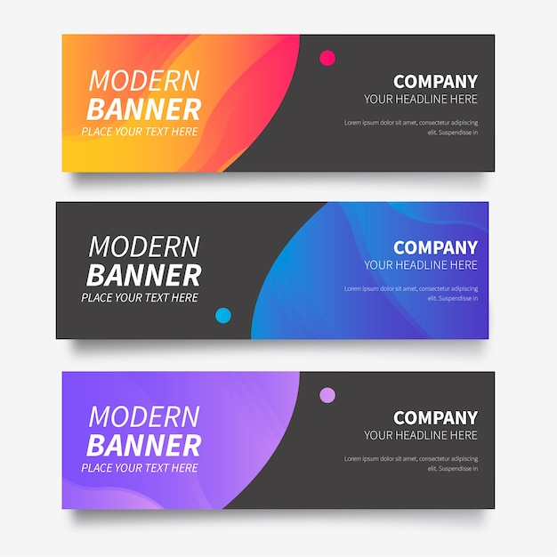Modern banner collection with abstract gradients Free Vector